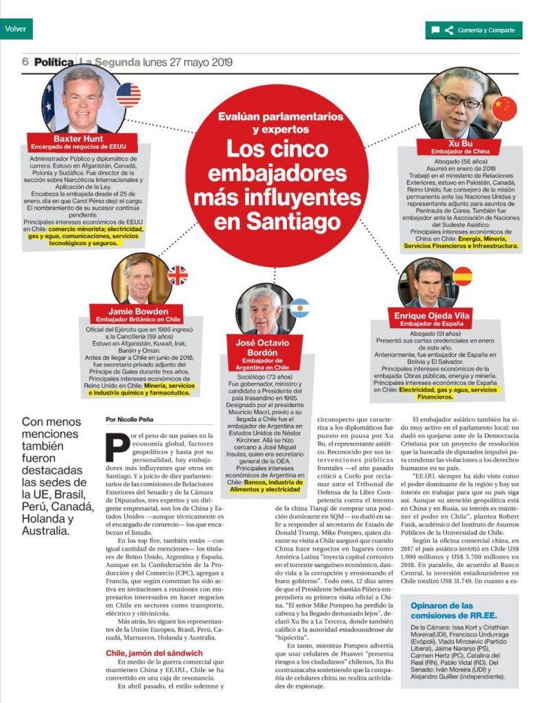 智利媒体称徐步大使为圣地亚哥最具影响力的大使