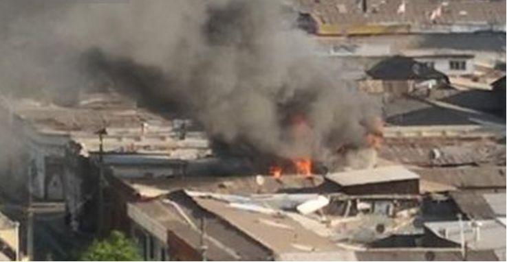 圣地亚哥市中心一大厦发生火灾